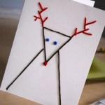 Tarjetas de Navidad originales hechas a mano: figuras con puntadas sobre cartulina