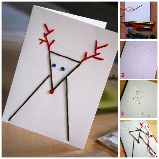 Tarjetas de Navidad originales hechas a mano con puntadas 4