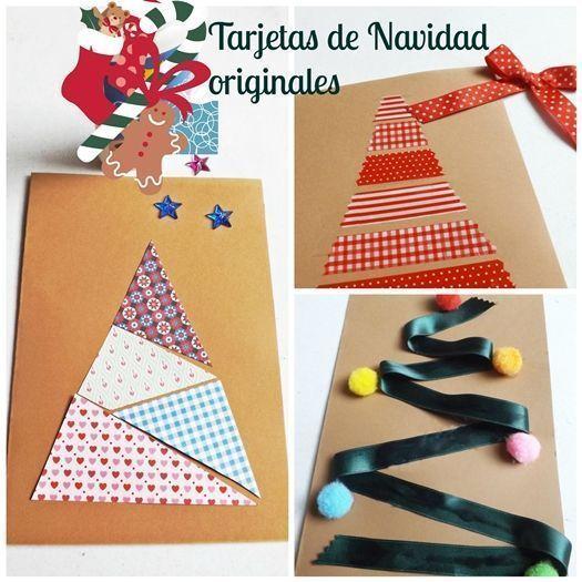 3 tarjetas de Navidad originales hechas a  mano con materiales sencillos que tienes en tu casa.