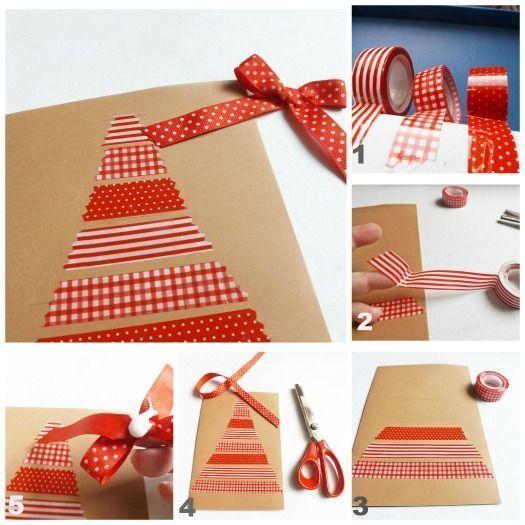 Tarjetas de Navidad originales hechas a mano con cartulina y cinta adhesiva decorada tipo washi tape.