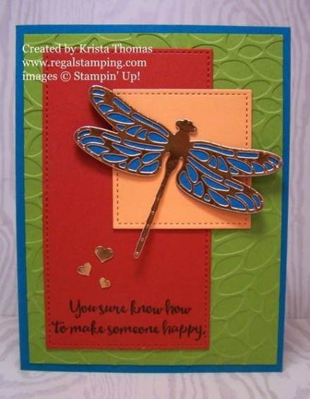 Copper Dragonfly Dreams with Tutorial by Krista Thomas, www.regalstamping.com, Stampin' Up! 2017 Occasions Catalog