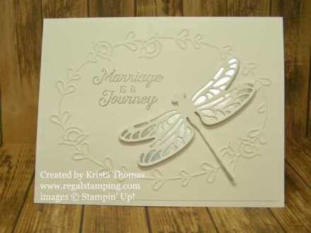 Detailed Dragonfly Wedding Card by Krista Thomas, www.regalstamping.com, Stampin' Up! Occasions 2017 Catalog