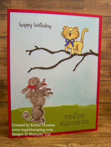 Birthday Friends & Pretty Kitty card by Krista Thomas, www.regalstamping.com