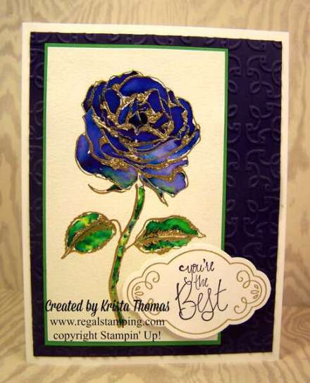 Brusho Rose in Ultramarine by Krista Thomas, www.regalstamping.com