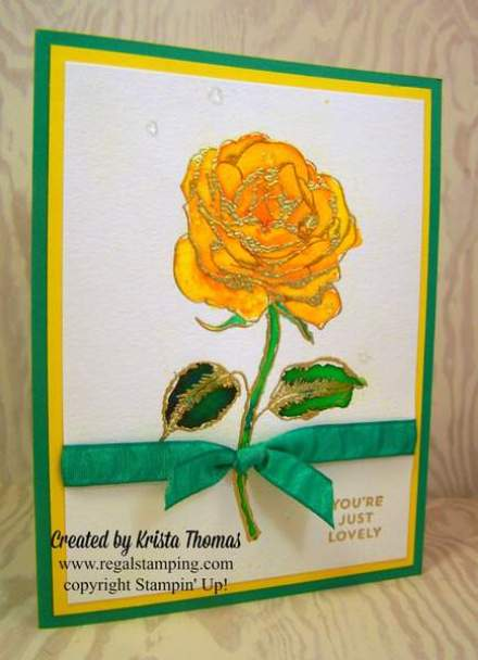 Yellow Brusho rose by Krista Thomas, www.regalstamping.com