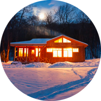 Warm House in Snow