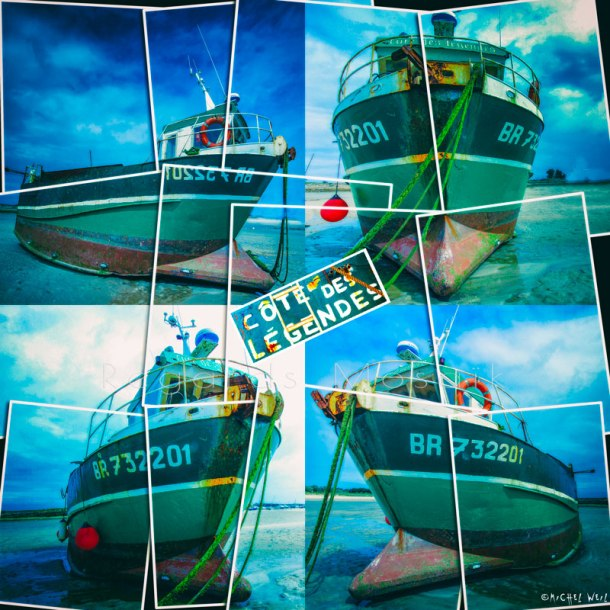 Le bateau côte de légende est posé sur le sable à marée basse du port de Plouguerneau
