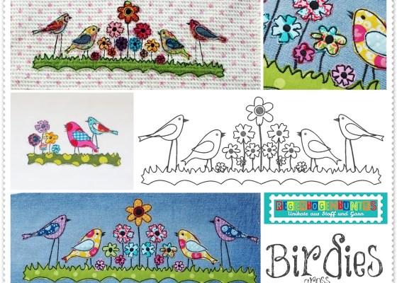 Neue Stickdatei – BIRDIES doodle Appli