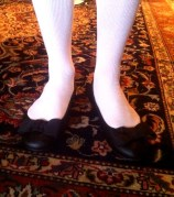 Opera pumps and white stockings