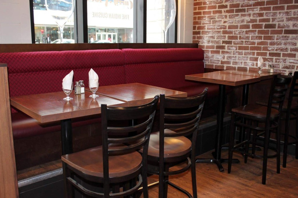 brown oak tabletops restaurant