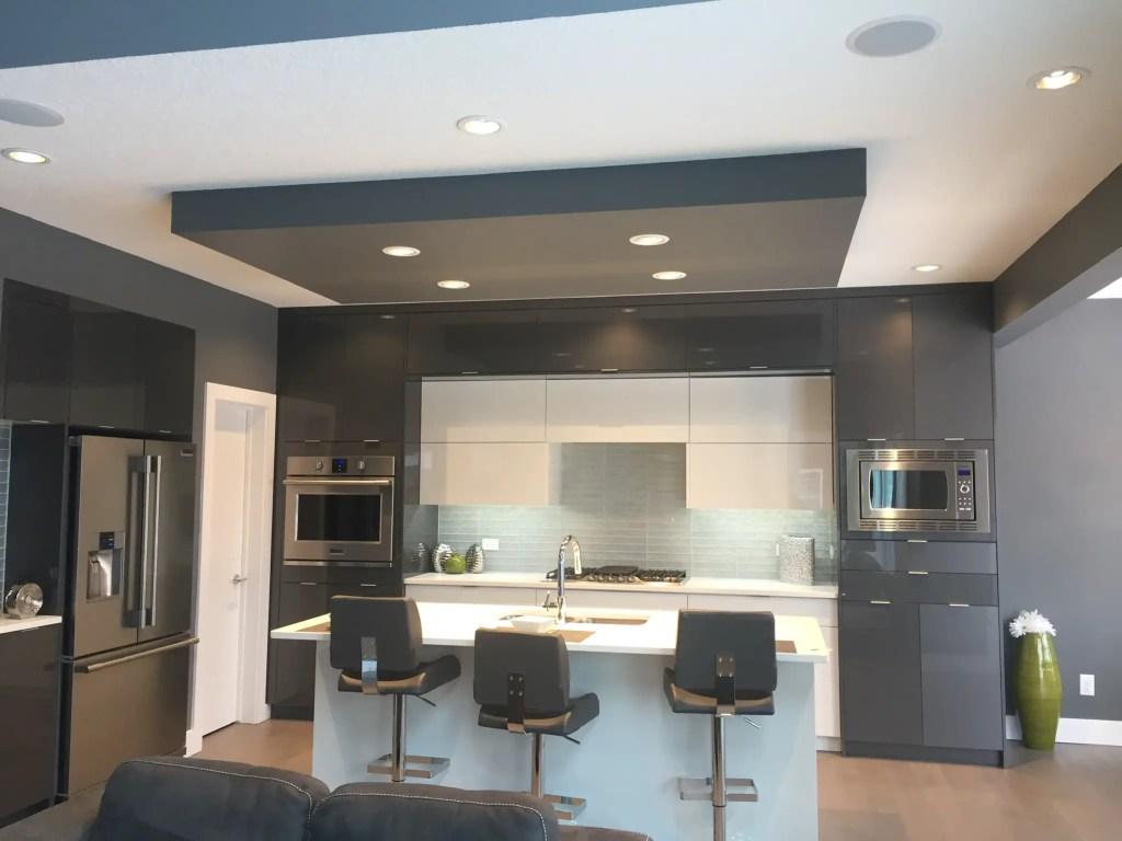 slate grey and white high gloss kitchen