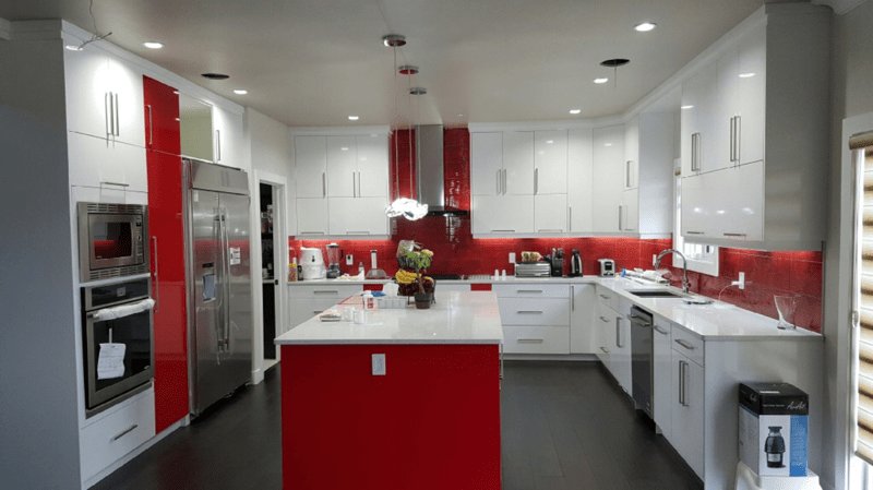 scarlet red white two-tone kitchen