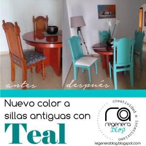 Sillas de madera en color Teal