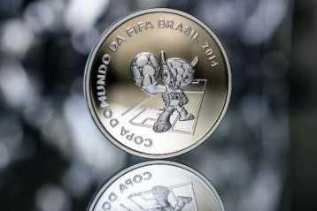 Moneda conmemorativa del Mundial con la imagen de Fuleco.
