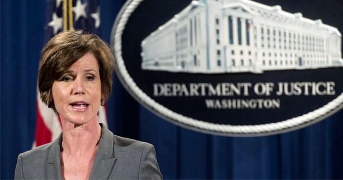 fiscal general del Departamento de Justicia, Sally Yates despedida trump