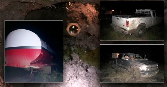 Policía de Tamaulipas rescata toma clandestina; asegura 3 vehículos y 420 litros de huachicol