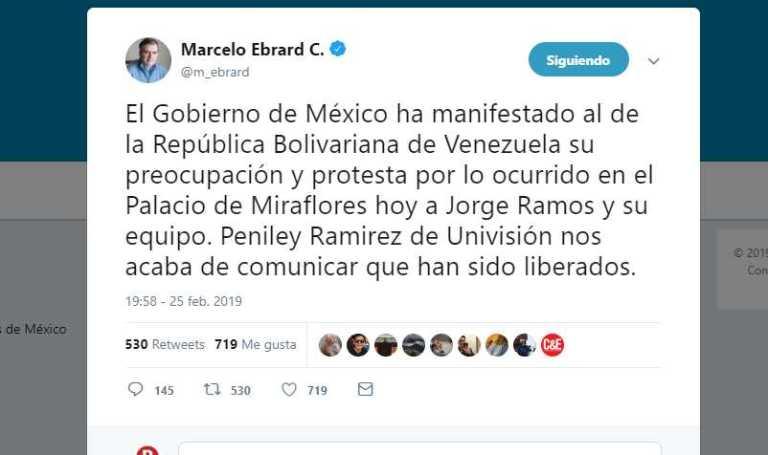 Ebrard manifestó su preocupación por retención de Jorge Ramos