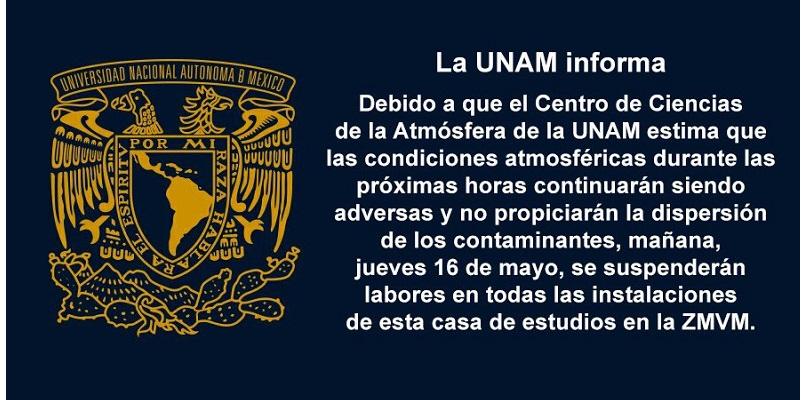 unam - UNAM y Poli también suspenden clases en metrópoli del Valle de México