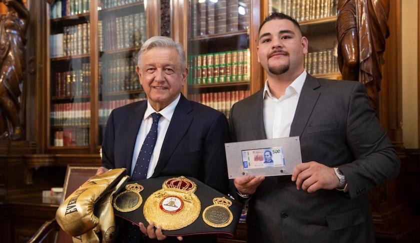 """AMLO Andy Ruiz - """"Orgullo de México"""", AMLO recibe a Andy Ruiz Jr. en Palacio Nacional"""