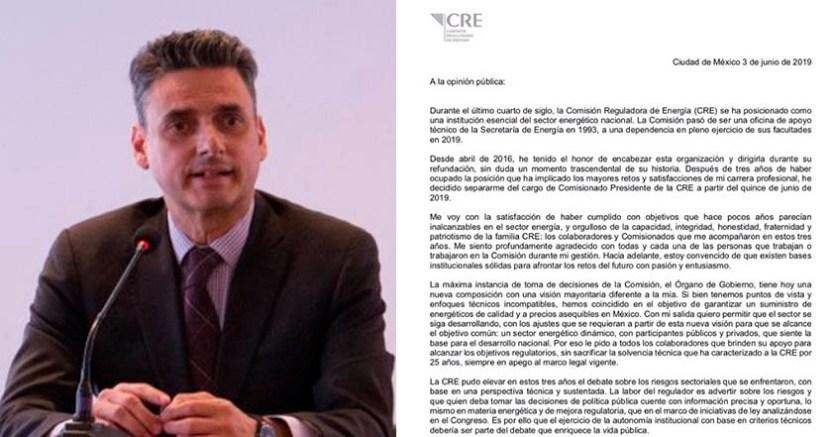 """CRE - Guillermo García Alcocer renuncia a la CRE por """"decisión personal"""""""