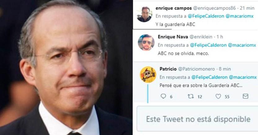 Felipe Calderón tuitea y usuarios le recuerdan lo ocurrido en la Guardería ABC  - Calderón tuitea y usuarios le recuerdan lo ocurrido en la Guardería ABC