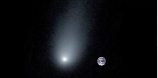 Cometa Borisov comparado con la Tierra
