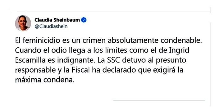 Sheinbaum, caso Ingrid Escamilla