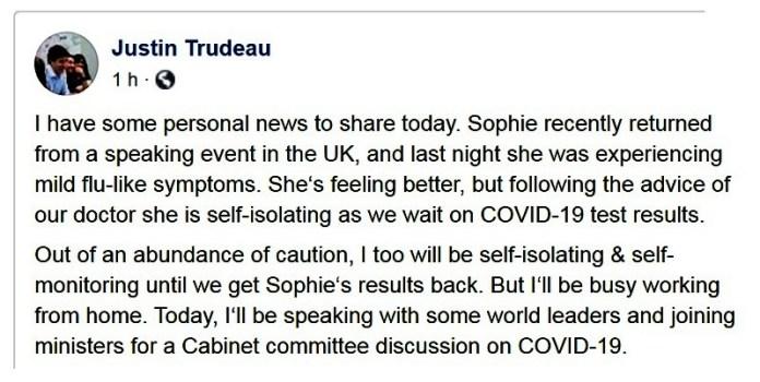 Covid-19. Trudeau trabaja desde casa