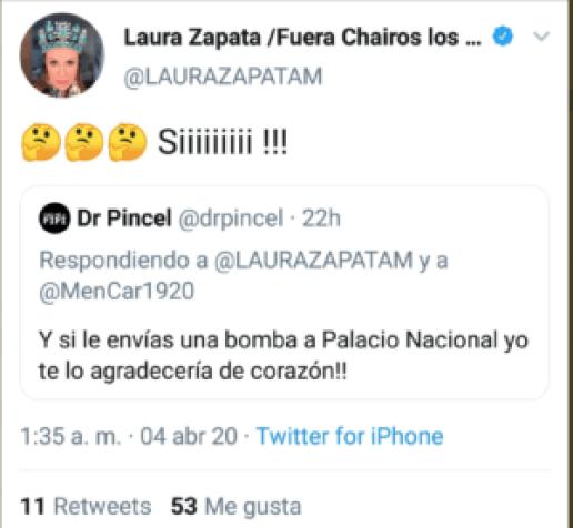 zap2 300x277 - Laura Zapata promueve atentado con bomba a Palacio Nacional, redes la destrozan
