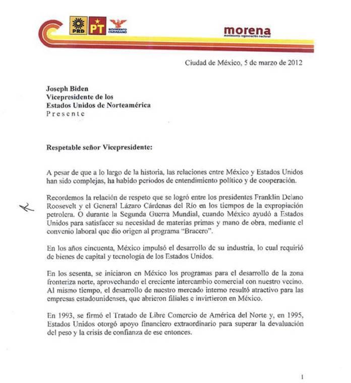 Carta de AMLO al Vicepresidente Joe Biden 2012 Reforma Migratoria 01