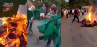Indígenas saquean y queman propaganda del PVEM en Ocosingo, Chiapas