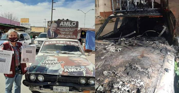 Portada 1 - Queman datsun tapizado de mensajes de AMLO y en pro de la 4T #AMLO