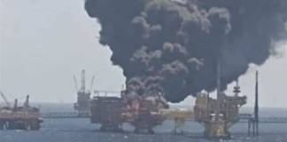 Plataforma de Pemex se incendia en el Golfo de México
