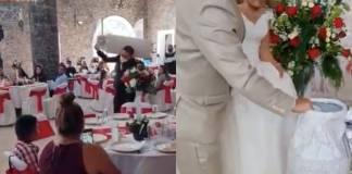 Invitado obsequia cilindro de gas a novios durante boda