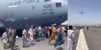 Personas caen de un avión de la Fuerza Aérea de EU al intentar escapar de Kabul