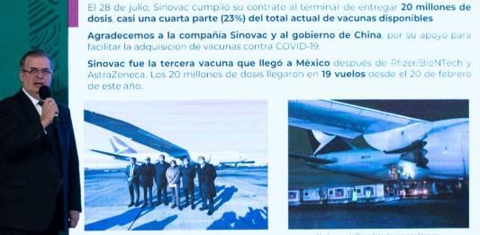 Sinovac cumplió con entrega de 20 millones de vacunas compradas: Ebrard