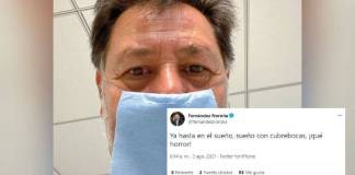 """Noroña sigue recuperándose de Covid; """"Ya hasta sueño con cubrebocas"""""""