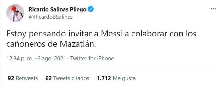ricardo salinas pliego mazatlan messi 1 - Salinas Pliego dice que con su fortuna podría traer a Messi y Cristiano; usuarios en redes se burlan