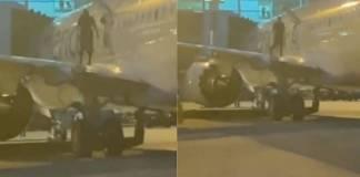: Pasajero abre puerta de emergencia de avión y se para en el ala