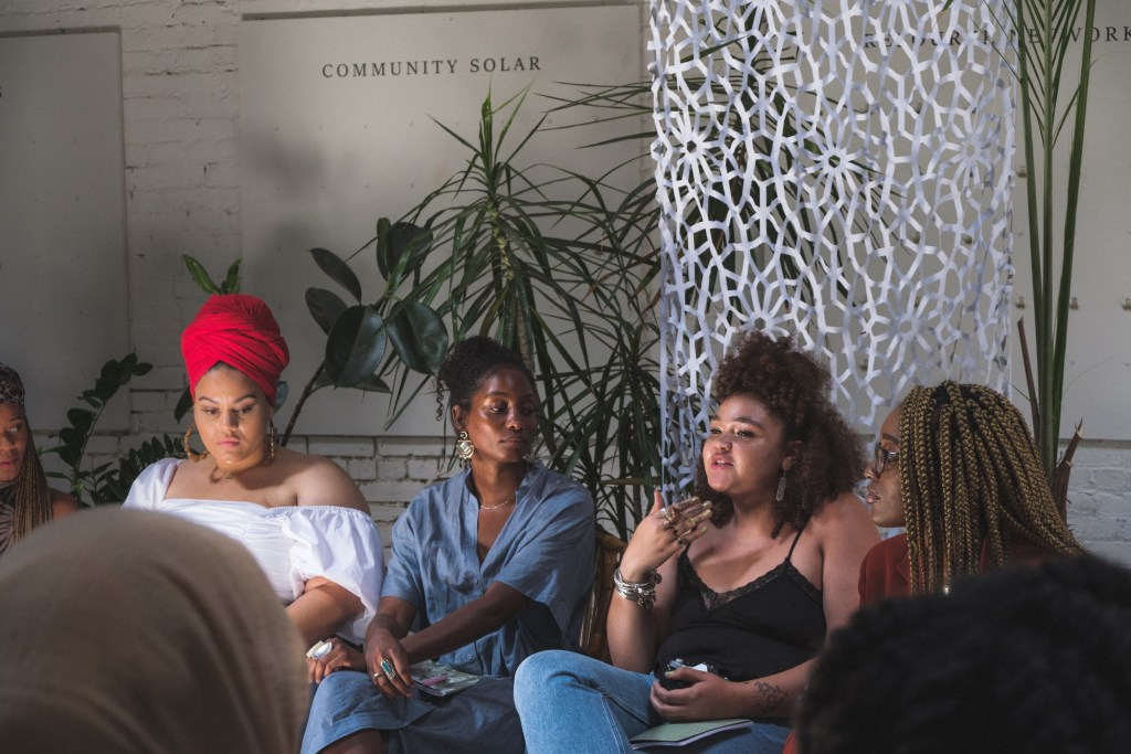 Women speak at workshop at the White Room of Regency Event Venue