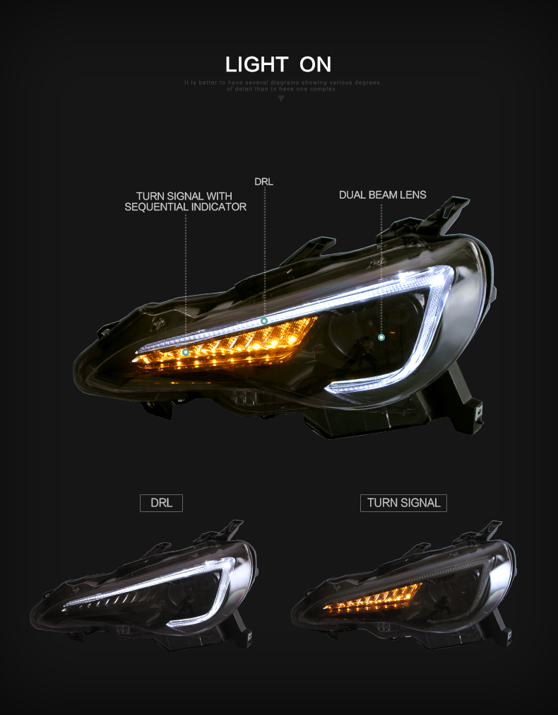 toyota 86 subaru brz headlight light lamp head