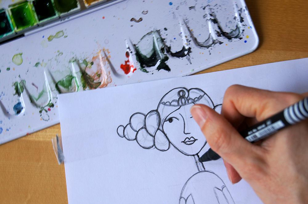 Vier Wege Deine Zeichnung auf Aquarellpapier zu übertragen