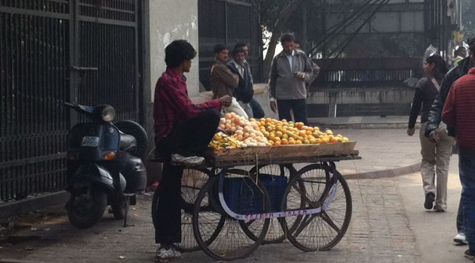 Fruit vendor in New Delhi