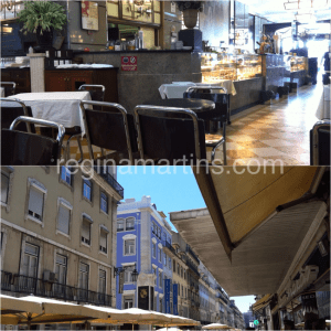 Cafe Nicola at the Rossio and restaurants waiting for lunch patrons