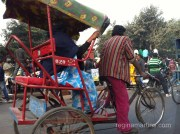 Cycle-rickshaw - not the most comfortable of rides but cheaper than the motorised version