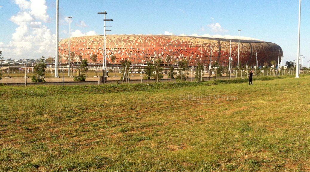 The FNB stadium in Soweto, also affectionately known as Soccer City where many matches, including the final of the 2010 World Cup was played. Popular soccer venue, it also hosts many music concerts, such as Lady Gaga, Linkin Park, Metallic and many others. It seats 94 736 people.