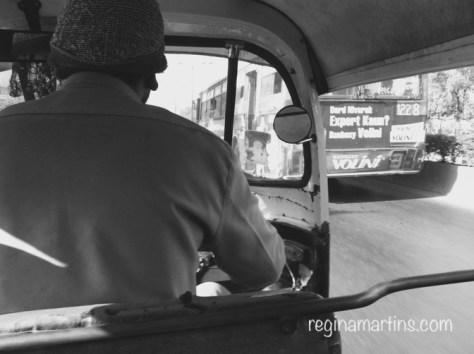 Riding the auto rickshaw in Pune ©2015 Regina Martins