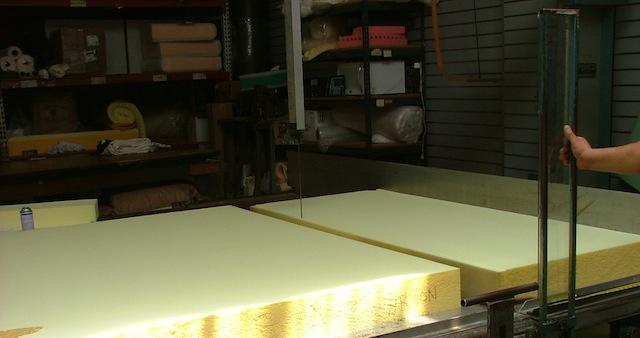 A Machine Cuts Flame Retardant Free Polyurethane Foam For A Customeru0026#039;s  Sofa