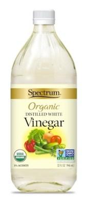 Spectrum Organic Distilled White Vinegar, in glass bottle.