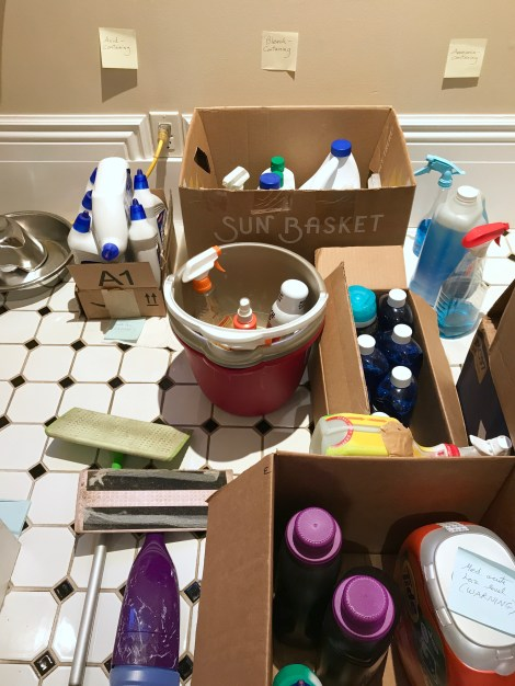 Toxic cleaning-related procucts in cardboard boxes, on glazed ceramic tile floor.